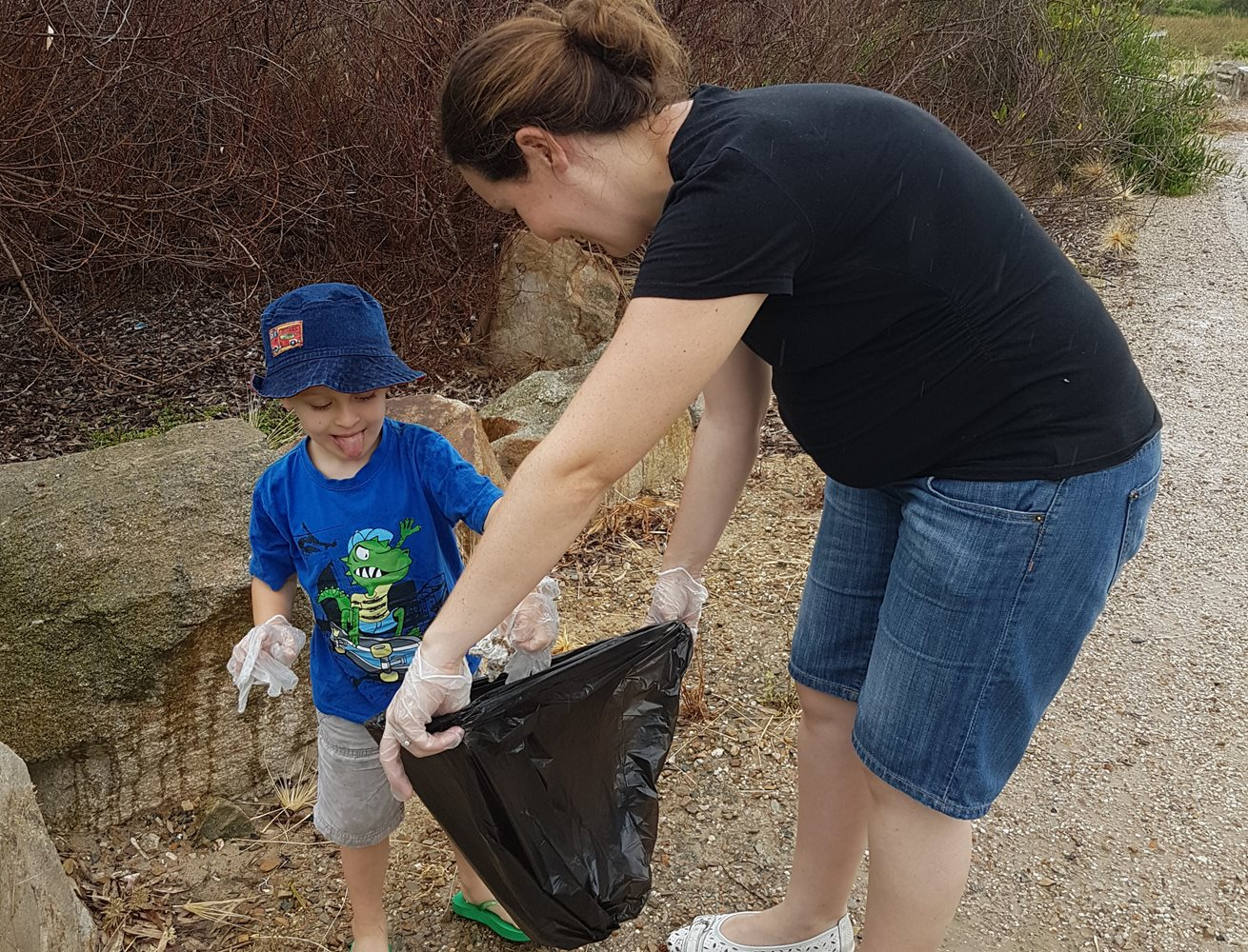 Beach clean up gets families moving