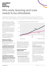 Affordability in early learning and care