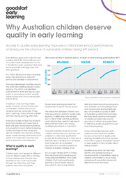 Children deserve quality early learning